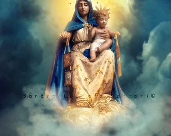 Our Lady of Mount Carmel Print, Scapular, Catholic Art, Religious Art, Print by Sandra Lubreto Dettori