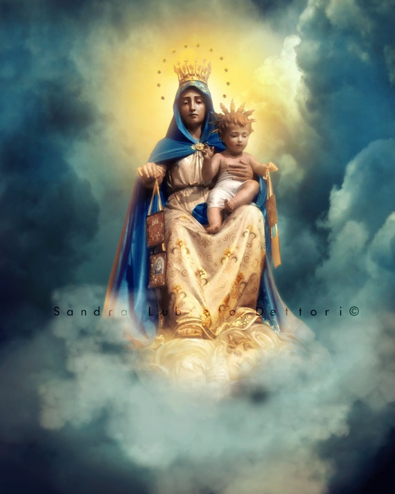 Our Lady Of Mount Carmel Print Scapular Catholic Art