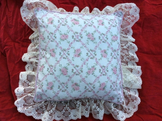 Ivory Lace Throw Pillow : ON SALE West Point Stevens Decorative Pillow Cottage Chic Rose Pink Ivory Lace by Cake Stands ...
