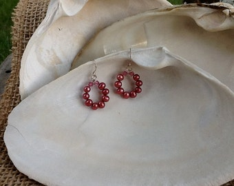 Freshwater Magenta Pearl and Sterling Silver Earrings