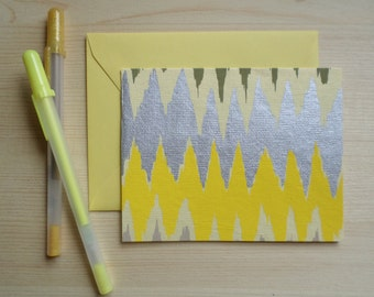 Yellow & Silver Ikat - Blank Stationary Set of 8