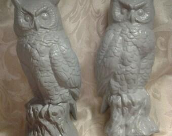 Gray owl figurines