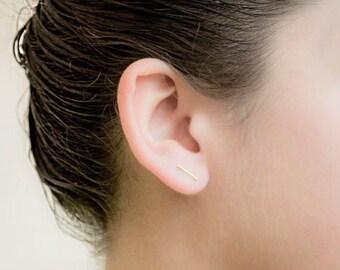Gold Minimalist Bar Earrings