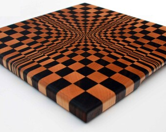 3D End Grain Butcher Block Cutting Board - Wonderland Chess