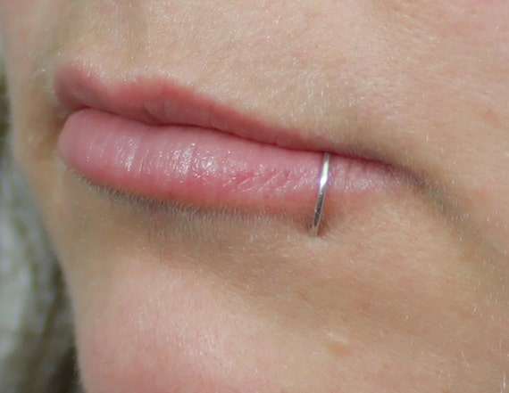 lip ring solid sterling silver argentium silver by