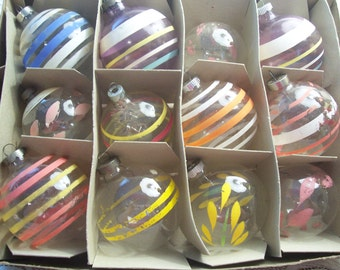 Twelve Hand Painted Unsilvered Christmas Ornaments, Shiny Brite/USA