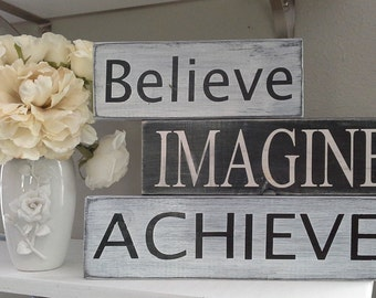 Believe Imagine Achieve - wood block signs - by WoodSignPeddler