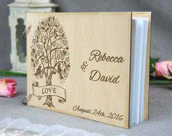 Unique personalized Wedding-Anniversary-Bridal shower guest book, Gift for couple, Memory album, Laser engraved, Rustic theme, Wedding decor