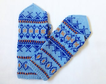 Hand knitted mittens, wool mittens. Colorful mittens. Stay warm and stand out!