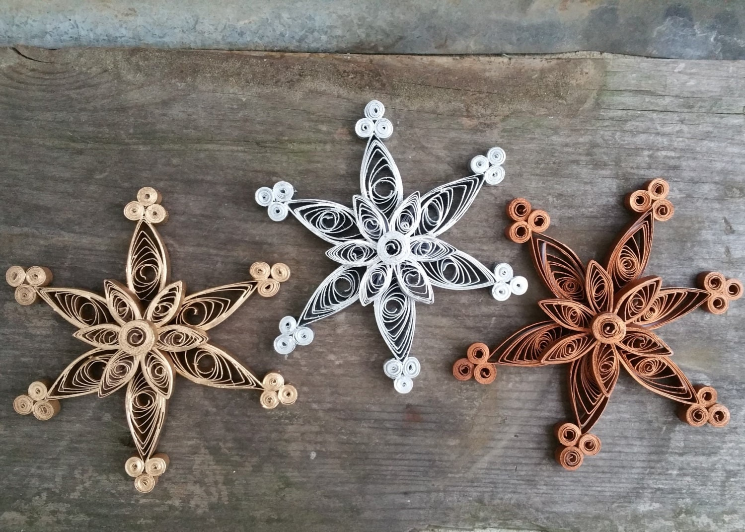 Silver Gold Copper Or White Quilled Paper Snowflake Ornaments
