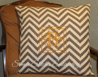 Personalized Jute Chevron Pillow Cover