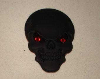 Small Metal Skull 3D decal emblem badge peel & stick for Car SUV Truck Motorcycle bike accessories Swarovski crystal eyes Biker Rocker Goth