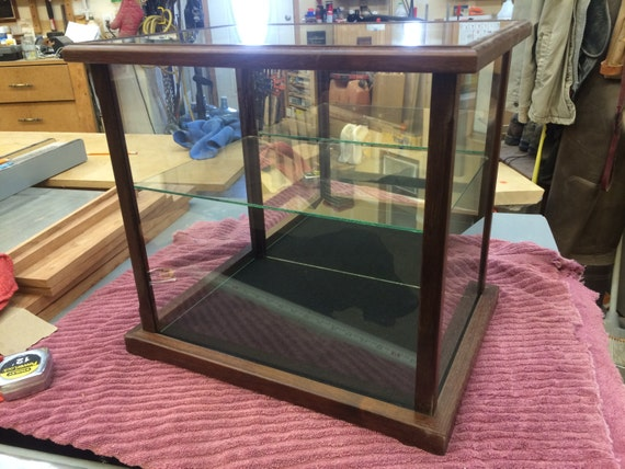 Wood and Glass Display Case for Dolls, Models, Crystal Figurines - Peruvian Walnut (other exotic woods available)