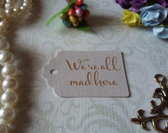 shimmer pearl tags All mad here Tags - Alice in Wonderland Eat me Tags - Tea Party or Wedding Tags - Set of 25 to 300 pieces Mini tag