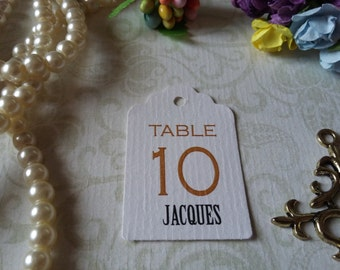 wedding table numbers and name Tags, wedding table numbers, Custom Wedding Tags, Custom Wedding Tags - Set of 25 to 300 pieces Mini tag