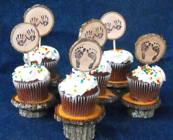 Woodland Baby Shower Cupcake Toppers Wood Baby By Ozarkcraftwood