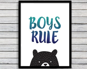 Childrens wall art, Black bear art, baby boy nursery, playroom printable, wall art decor, digital print, room decor, boys rule print