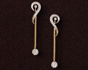 Long chain dangling earrings. 14K yellow gold and diamond earrings. Workwear danglers. Delicate and stylish