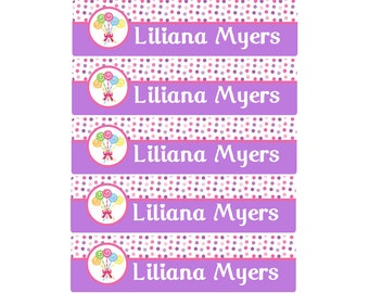 Lollipop School Name Labels, Kids School Labels, Personalized Name Labels -Waterproof Labels Small. Daycare Labels, Camp Labels