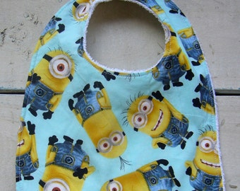 NEW *MINIONS* Infant Baby BIB Terry Cloth Backing Super Soft Absorbent *Great Gift Idea