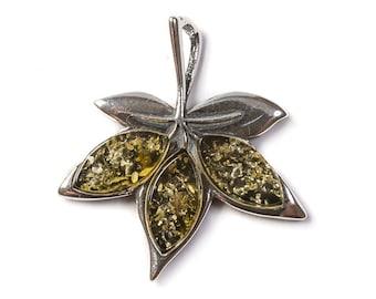 Henryka Amber & Silver Maple Leaf Necklace
