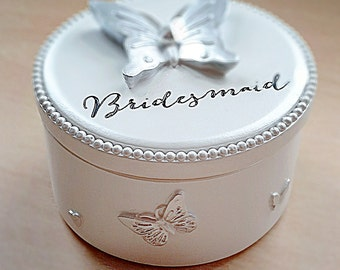 White Trinket box with butterfly design, Bridesmaid Wedding gift