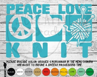 Peace Love Knit Decal - Yarn and Knitting Needles - Available in variety of sizes and colors