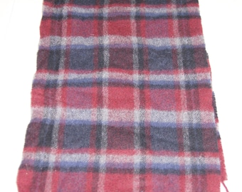 Vintage 1960's - Wool Plaid Winter Scarf In Red Black And White