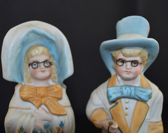 Antique Bisque Figurine Pair Grandma Grandpa Bisque German Statues 1800s Victorian Decor