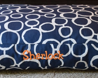 Skye Dog Bed || Navy Blue || Pillow Cover ||Custom Embroider Dogs Name || Personalize || Medium Large || Puppy Gift by Three Spoiled Dogs