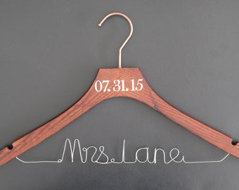 Personalized Wedding Hanger,brides hanger,name hangers,bridesmaid hangers,bridal party gifts,Custom Mrs Last Name Hanger Wedding Gift