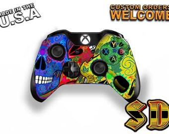 Dia de los Muertos Sugar Skull Xbox 1 Controller Wrap - Xbox 360 controller Skull Jumble Gaming Controller- Decal Skin X1C-1037