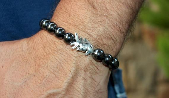 Men 39 s fish bracelet mens 10 mm hematite fine by braceletshomme for Mens fishing bracelet