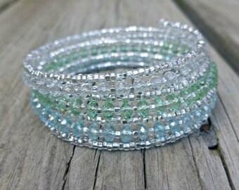 Memory Wire Bracelet - Coil Bracelet - Wrap Bracelet - Beaded Bracelet - Beaded Jewelry - Seed Bead Bracelet - Glass Bead Bracelet