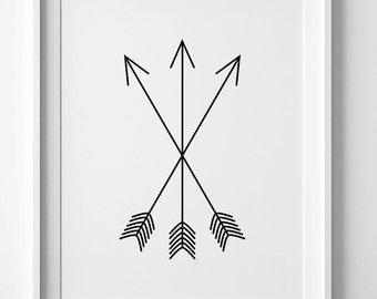 Black and white art, nursery print, arrow print, wall art print, black tribal print, printable wall art, arrow nursery art, tribal poster
