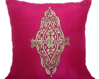 Pink Damask Sham Cover Pink Gold Shams Pink Gold Damask Embroidered Euro Sham Cover 24x24 26x26 inch