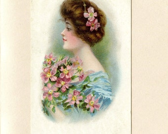 Unused Vintage Victorian Postcard of Pretty Lady with Upswept Hair Style Blue Dress Holding Pink Flowers Published 1908 Fashion ~ 4174Pa