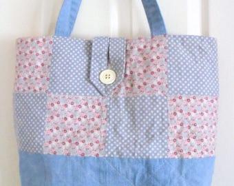 Tilda shopping bag, quilted patchwork shopper, cotton tote bag, cotton carry all, diaper bag, denim nappy bag, tilda fabric
