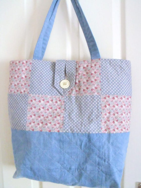Tilda shopping bag, quilted patchwork shopper, cotton tote bag, cotton carry all, diaper bag, denim nappy bag, tilda fabric