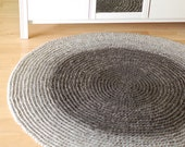 Round crochet 100% wool rug Big natural gray ombre - Bedroom rug home decor wool carpet