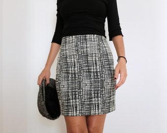 Short Skirt - Mini Skirt - Pencil Skirt - Cotton Skirt - High Waisted Skirt - Black and White Skirt - Black Skirt - Modern Skirt - Pencil