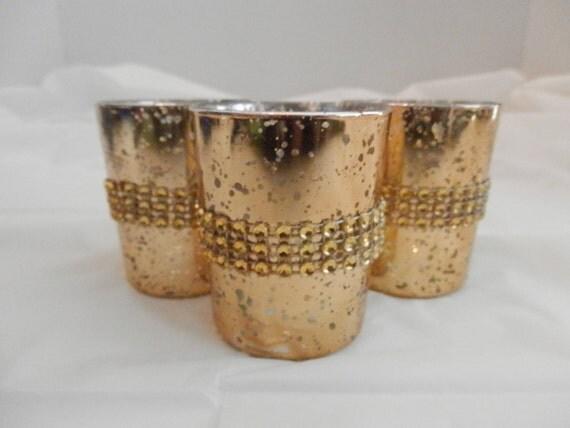 Wedding centerpiece rhinestone gold mercury glass by