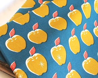 CANVAS -Apples in Teal/Mustard- Picnic by Melody Miller for Cotton + Steel a Japanese Import