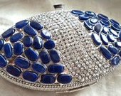 Silver Metal Clutch with navy blue semi-precious stones, Bridal or party wear: / bridesmaids clutches / gifts for her / something blue