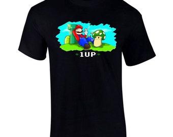 Gaming Character 1UP 420 Funny T-Shirt S-2XL