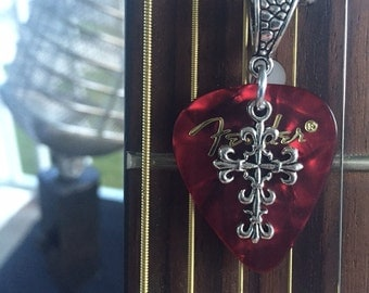 Guitar pick necklace with Cross pendant
