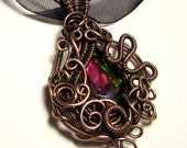 Rainbow Crystal Wire-wrapped Copper Pendant - Vitrail Glass Crystal Gothic / Steampunk Necklace