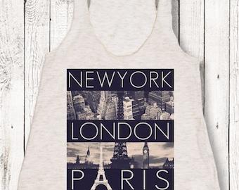NewYork London Paris Women's American Apparel Tri-Blend Tank Top