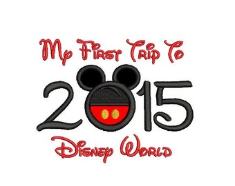 My First Trip to Disney World - Part Embroidery and Part Applique in 3 Sizes - INSTANT DOWNLOAD