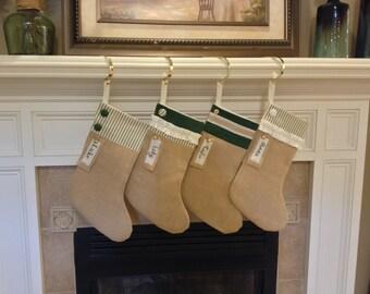 Two Christmas Stockings:  Burlap Chritmas Stockings